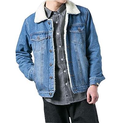 Aiwendish Men's Sherpa Lined Denim Jacket Warm Fleece Jean Trucker Coat at Men's Clothing store