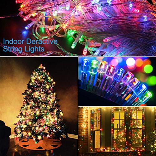 Christmas String Lights 22M/72ft 200 LEDs Indoor String Lights with 8 Flash Changing Modes, 29V Safety Outdoor Waterproof Plug-in Fairy Twinkle Lights for Halloween/Garden/Party/Festive (Multi Color) by Vilaka (Image #1)