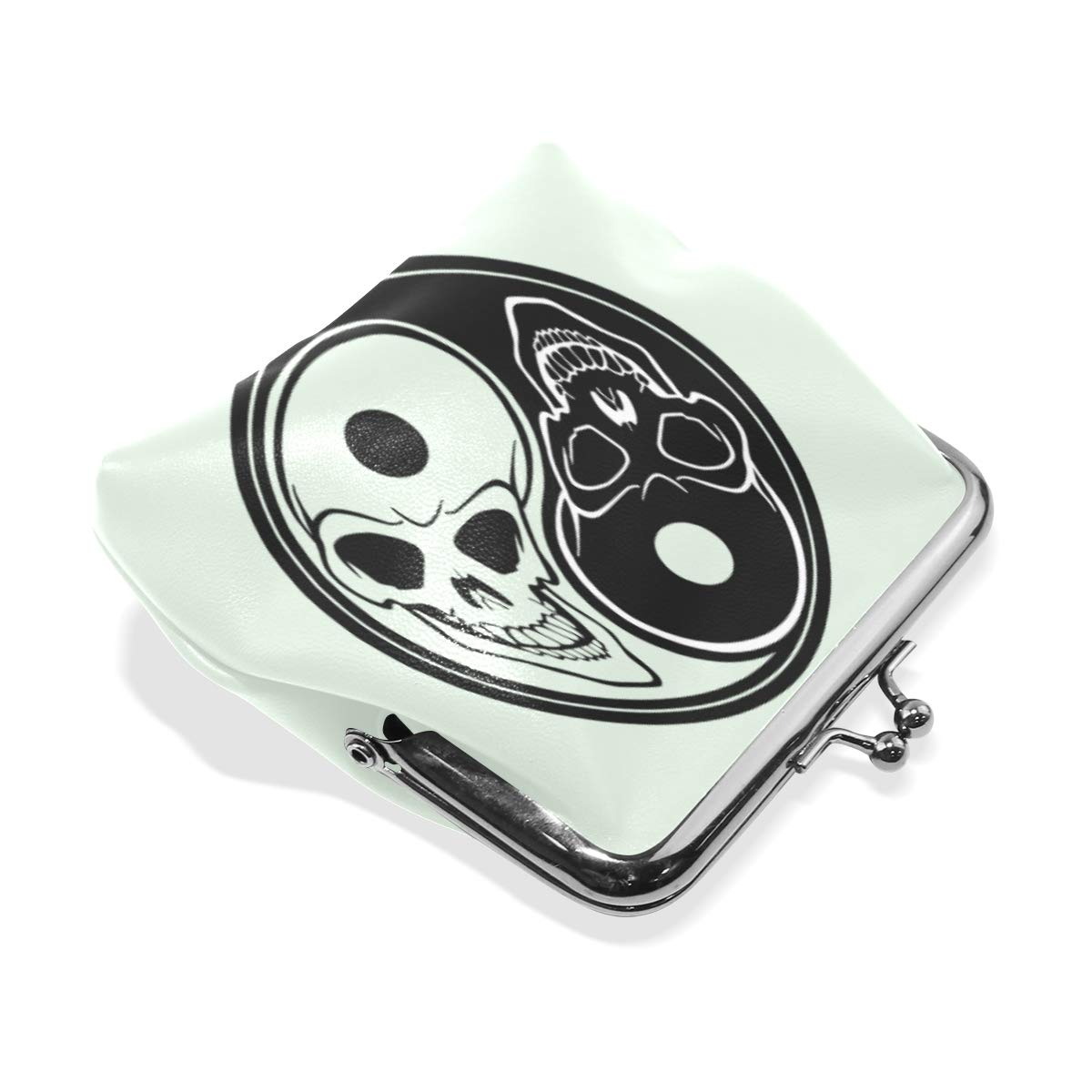 TIKISMILE Yin Yang With Skulls Leather Fashion Buckle Cute Coin Purse Bags Clutch Pouch Wallet