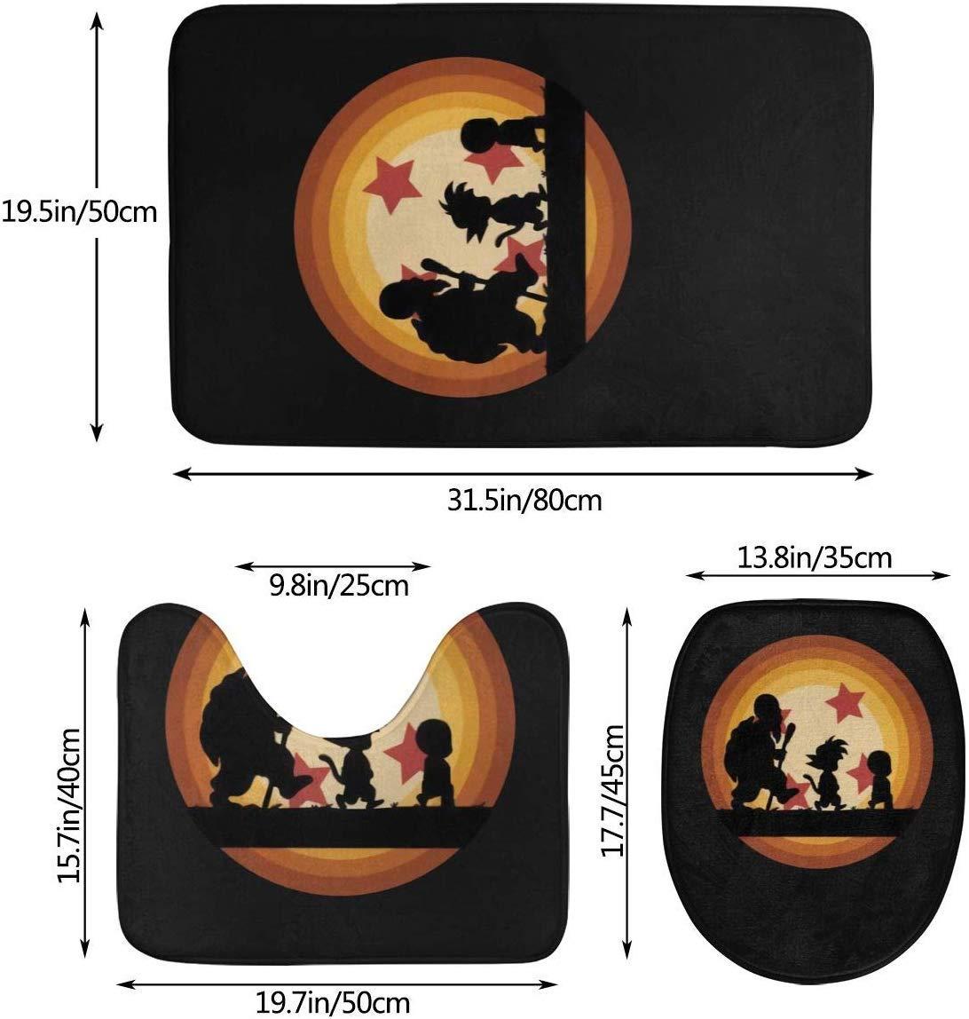 milkcolor Tappeto da Bagno Dragon Ball Tappeto da Bagno 3 Pezzi Set Tappeto Contorno e Coperchio Coperchio