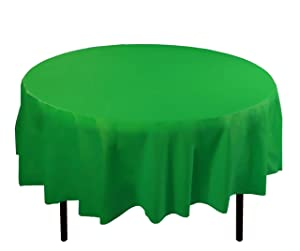 Exquisite 12-Pack Premium Plastic Tablecloth 84in. Round Table Cover - Emerald Green