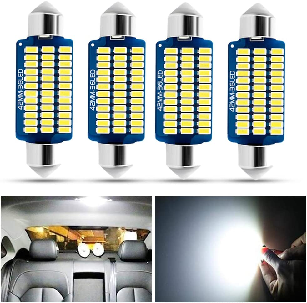 Fulintech 4PCS 42mm Festoon LED Car Bulb 42MM-White LED Dome Reading Xenon Bulbs Car Interior Light Replacement License Plate Lights Map Lamps No Polarity 36SMD 3014