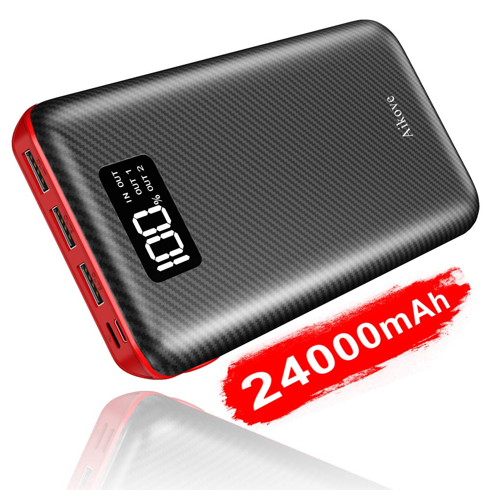 Aikove Power Bank Portable Charger 24000mAh High Capacity with Digital Display LCD Screen, 3 USB Output & Dual Input, External Battery Pack for iPhone, iPad, Samsung Galaxy Smartphones and More (Red)