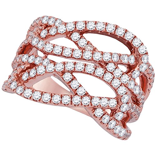Multi Strand Diamond (18kt Rose Gold Womens Round Diamond Multi Strand Openwork Band Ring 1-3/8 Cttw)