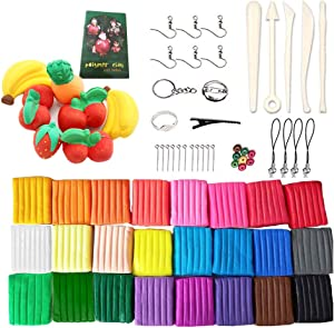 Polymer Clay,24 Colors Oven Bake Modeling Clay Blocks,DIY Colored Clay Kit with Sculpting Tools and Accessories,Box Packaged Poly Clay for Kids Art Crafts