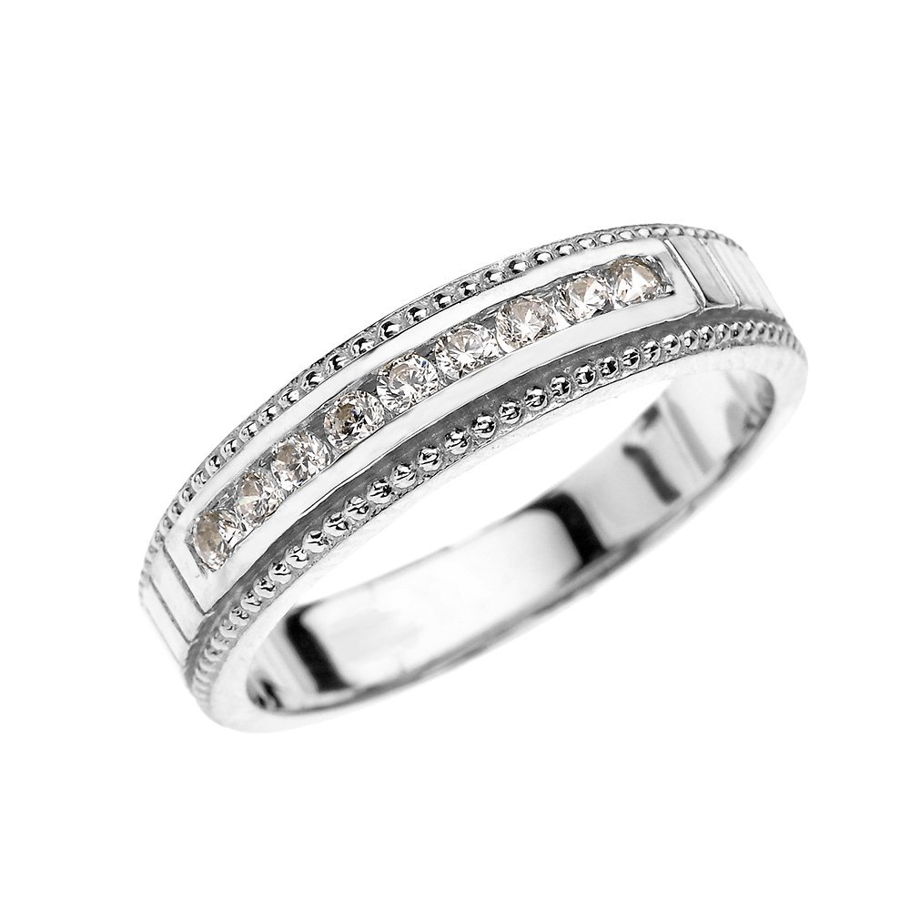 10k White Gold Cubic Zirconia Wedding Band Ring For Him