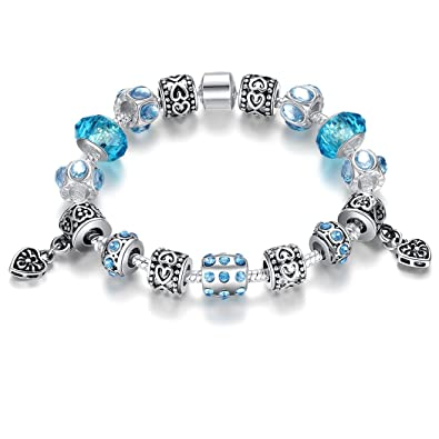 ed99293bd Amazon.com: Bamoer 2016 Blue murano glass beads heart Charm Beaded Vintage  Silver Plated Bracelet Fashion Jewelry Gifts for Women Girls 7.08 inches:  Jewelry