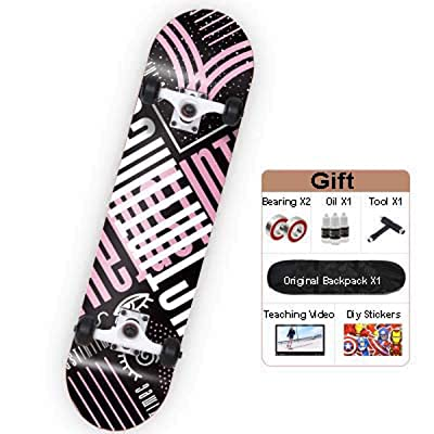 "QINGMM Skateboards for Beginners, Complete Skateboard 31.75"" 7.88\"", 7 Layer Canadian Maple Double Kick Concave Standard and Tricks Skateboards,Girl: Home & Kitchen [5Bkhe0606478]"