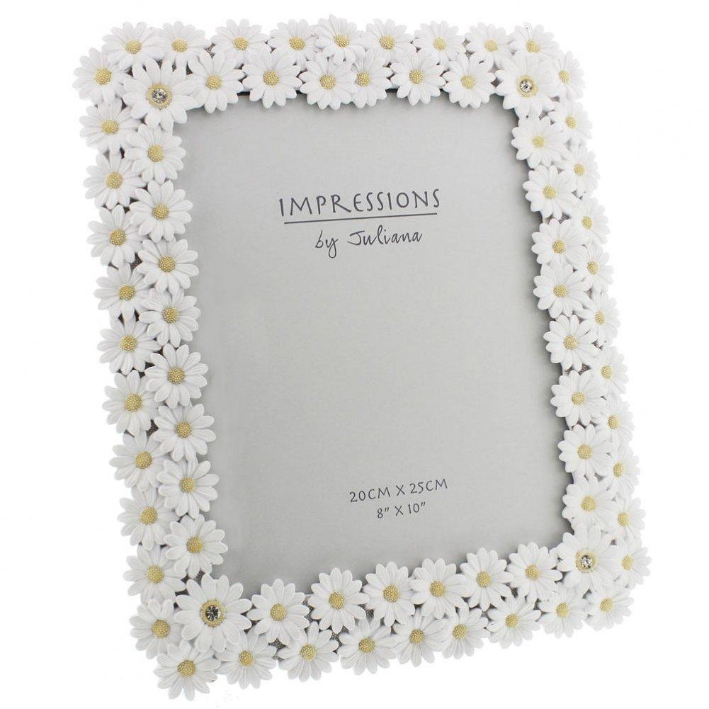 Family Photo Frame 5 x 7 Juliana Impressions TM Luxury White Daisy Photo Frame With Crystal Elements Wedding 13 x 18cm by Impression by Juliana