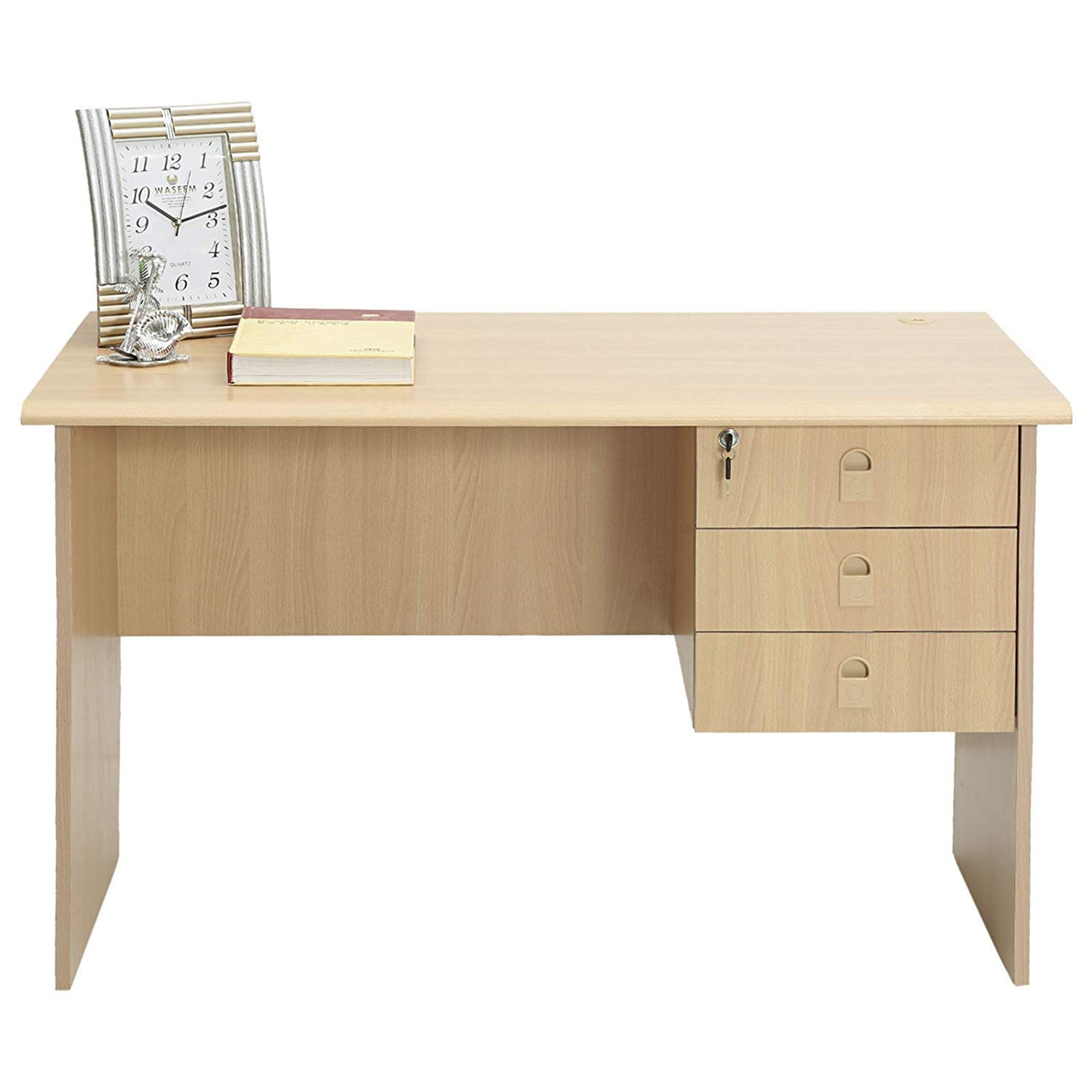 AFT Office Table with 1 Side Drawer, Beige - 140 x 50 x 75 ...