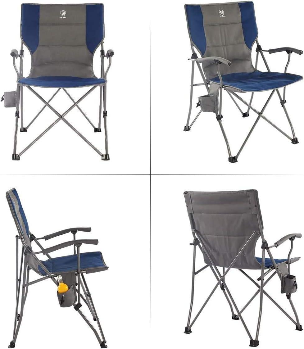 Chaise de camping pliable EVER ADVANCED avec accoudoirs rembourr/és cadre en acier pliable et supporte 135 kg
