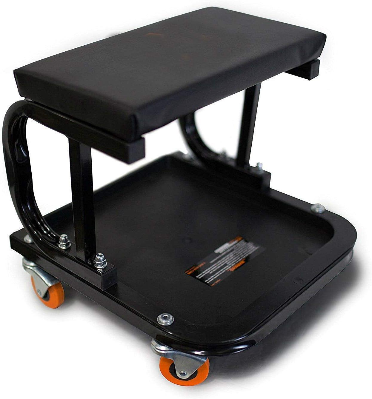 Rolling Mechanic Seat Garage Tool Box Creeper Chair Work Stool Storage Cart Shop