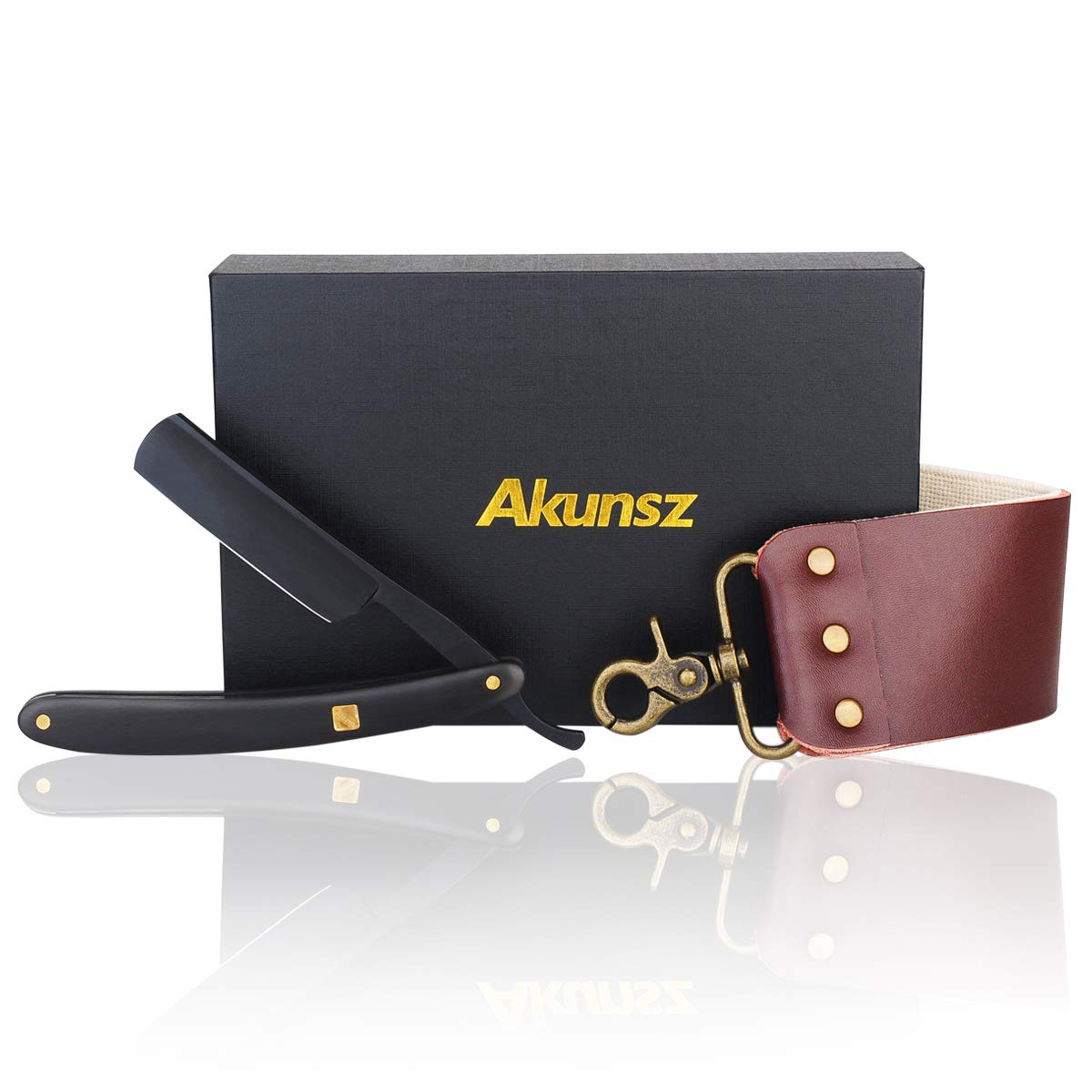 Straight Razor Shaving Kits for Men AKUNSZ Black Cutthroat Straight Razor with Strop Ebony Wooden Handle Ltd.