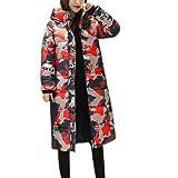 Abrigo Largo de Invierno cálido Estampado Mujer Abrigo Acolchado Invierno Caliente con Capucha Mujer Chaquetas de