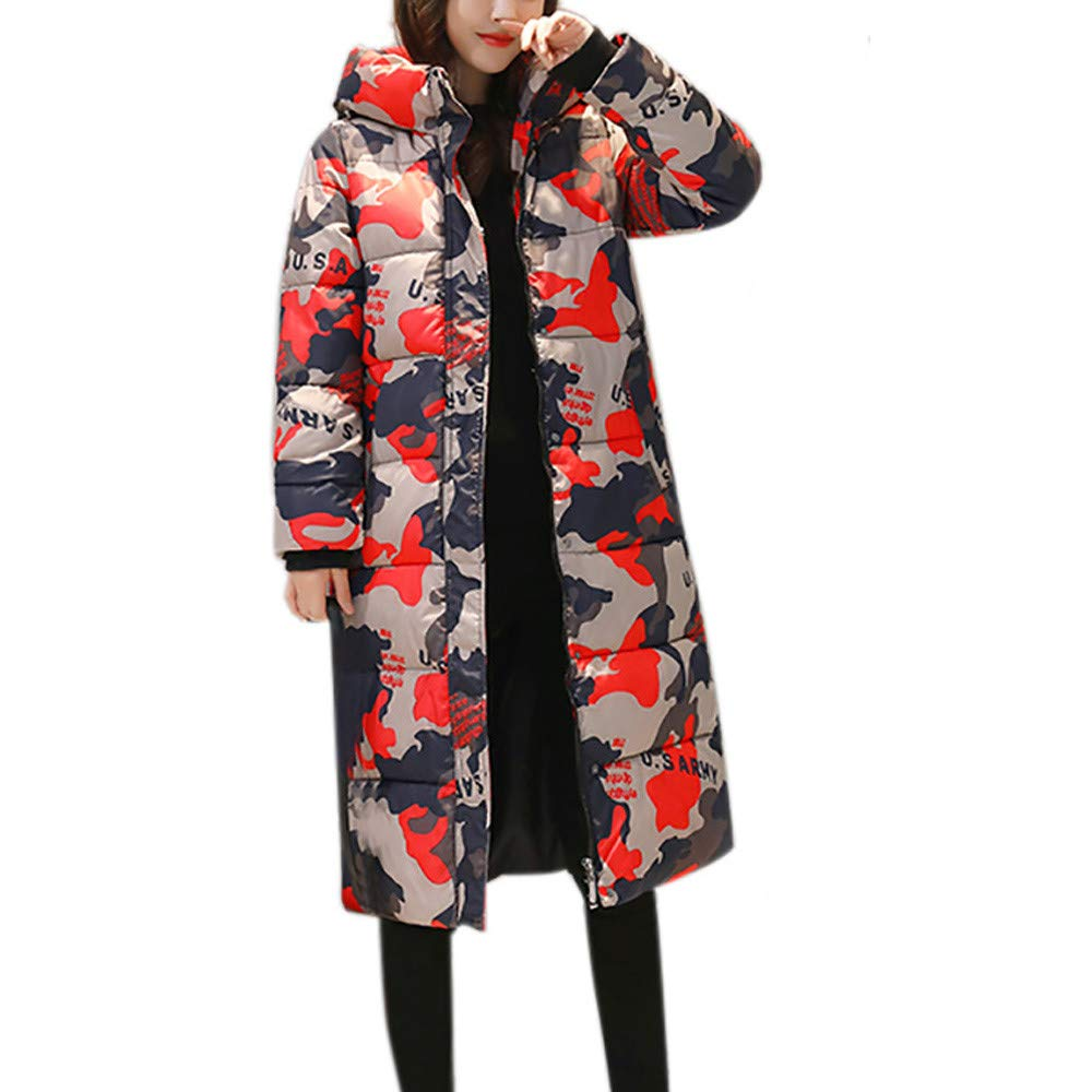 Red Ta Women Winter Long Sleeve Plus Size Warm Jacket, Ladies Camouflage Print Fashion Hooded Overcoat Outerwear