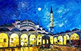 100% Genuine Real Hand Painted Blue Mosque, Turkey, Islamic Art, Spiritual Canvas Oil Painting for Home Wall Art Decoration, Not a Print/ Giclee/ Poster, FRAMED, READY TO HANG