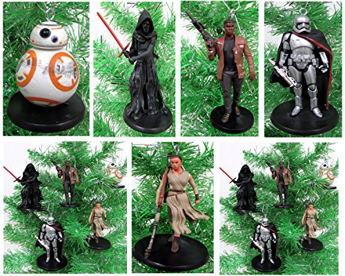 Star Wars FORCE AWAKENS 5 Piece Christmas Tree Ornament Set Featuring Kylo Ren, BB-8, Captain Phasma, Finn, Rey and Flametrooper