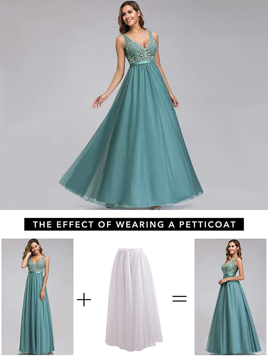 Ever-Pretty Womens V Neck Floor Length Elegant A Line Tulle Long Bridesmaid Prom Dresses with Appliques 00930