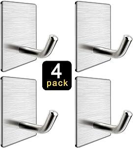 Adhesive Hooks for Hanging Bathroom Kitchen,Waterproof Stainless Steel Wall Hooks, 4 Pack