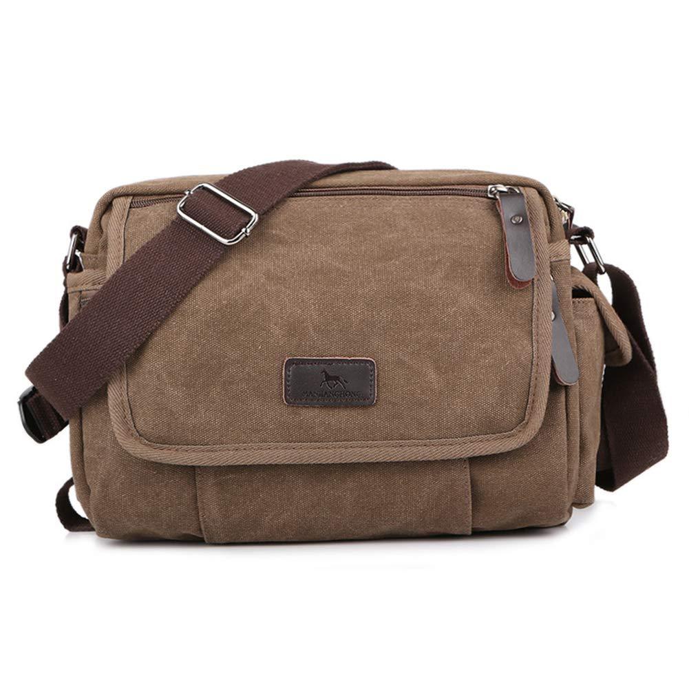 Umhängetasche,Herren Schultertasche Kuriertasche Canvas Multifunktionaler Rucksack Laptop Tasche Messenger Bag Für Arbeit Und Schule,braun B07JJF9LS7 Schultertaschen