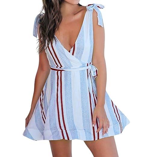 Vestido Para Mujer, BBestseller vacaciones de verano de rayas mujeres bowknot Fiesta en la playa
