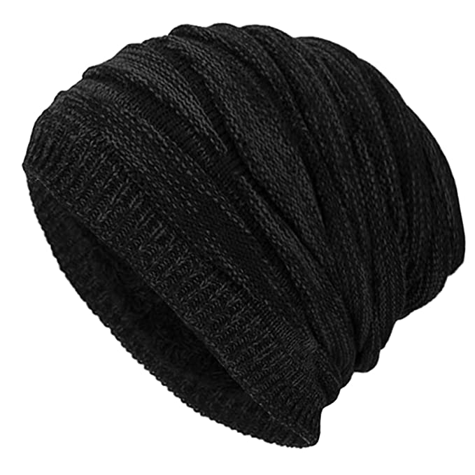 Mens Womens Oversized Beanie Hat Winter Wooly Knitted Slouch Beanie Ski Hat New