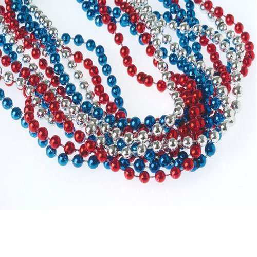 (Red, White, & Blue Metallic Necklaces (24-Pack))