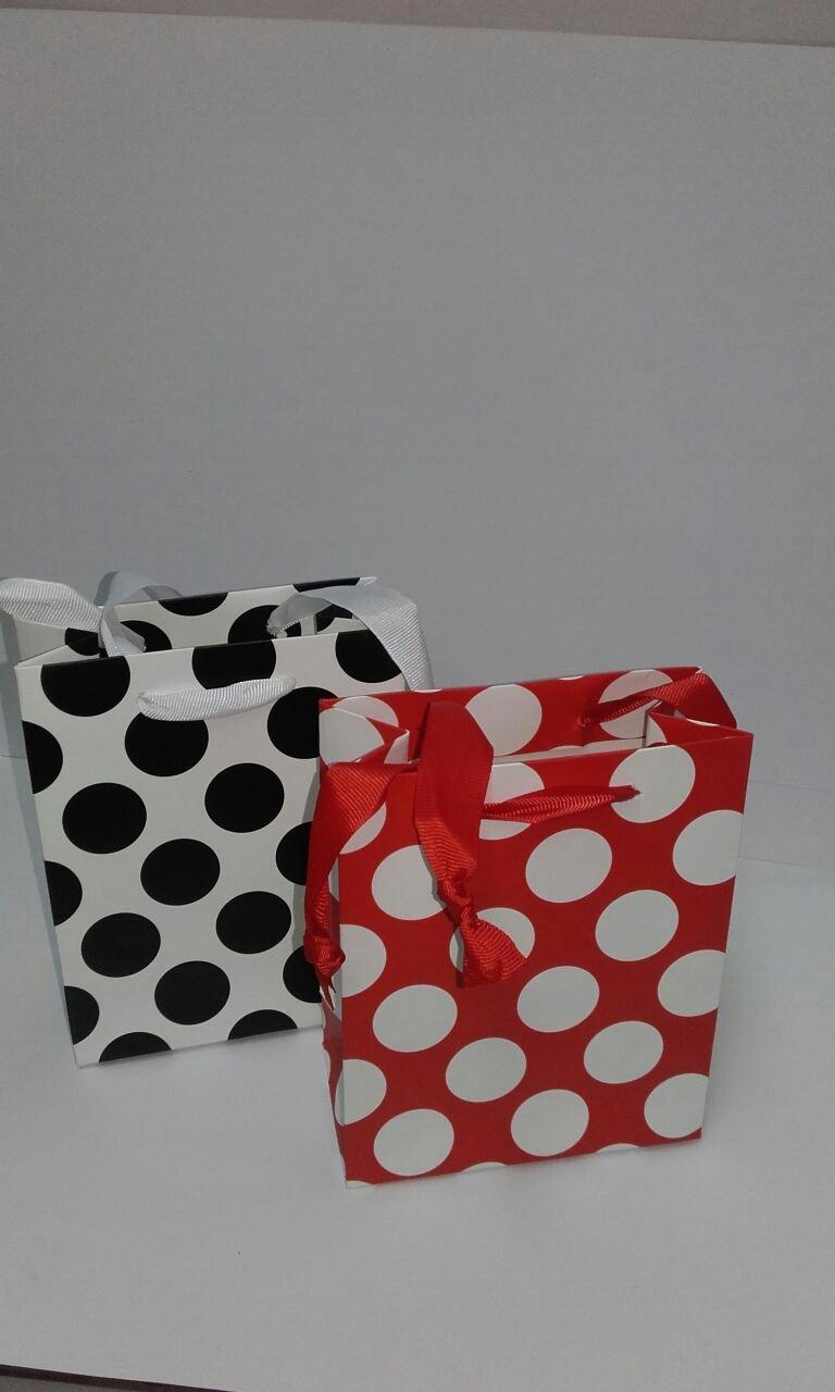 Dalbags - Pz 12 Sacchetti Shopper Regalo In Carta Fantasia a Pois Colore Bianco/Nero - Bianco/Rosso Formato 26+12, 5x32 Dalbags srl