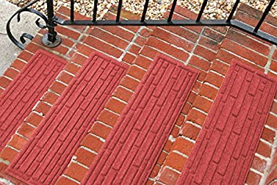 Aqua Shield Broken Brick Stair Treads, 8.5 by 30-Inch, Solid Red, Set of 4