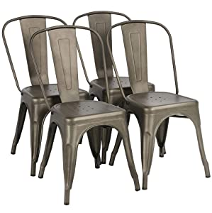 Yaheetech Iron Metal Dining Chair Stackable Side Chairs with Back Indoor-Outdoor Classic/Chic/Industrial/Vintage Bistro Café Trattoria Kitchen Gun Metal,Set of 4