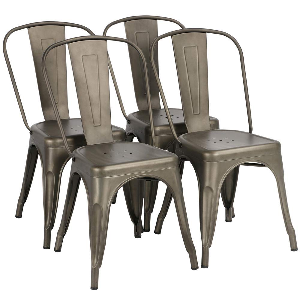 Yaheetech Iron Metal Dining Chairs Stackable Side Chairs with Back Indoor-Outdoor Classic/Chic/Industrial/Vintage Bistro Café Trattoria Kitchen Gun Metal,Set of 4