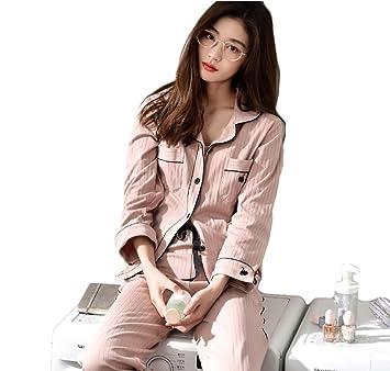 mujer dulce algodón conjunto de pijamas señoras 2 piezas suave casual ropa de dormir, M