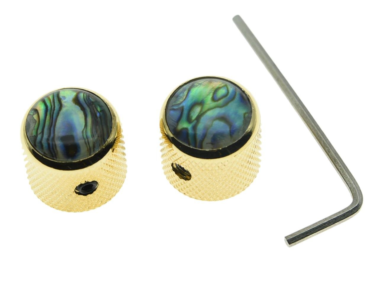 Dopro 2pcs Gold Tele Telecaster Abalone Top Guitar Dome Knobs Bass Knobs with Set Screw and Wrench