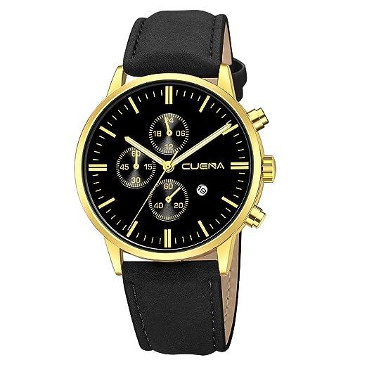 VEHOME Reloj de Lujo - Estilo de Negocios de Moda - Esfera de Acero Inoxidable - Correa de Cuero-Relojes Inteligentes relojero Reloj reloje hombresRelojes ...