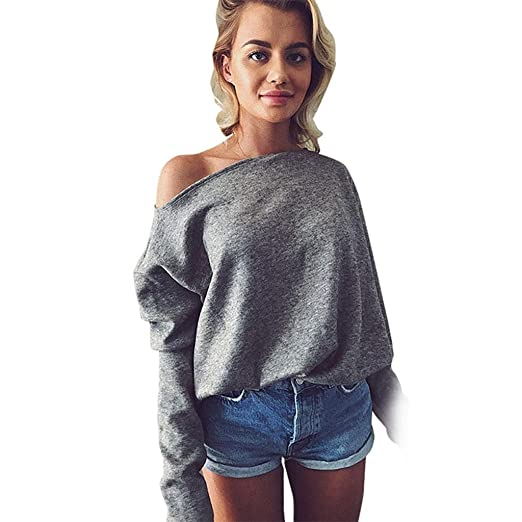 c269b8fabfb3d6 SODIAL Women Fashion Loo Solid Color Long Sleeve Knitted Sweater Pullovers Ladies  Casual Off Shoulder Baggy