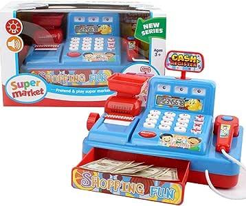 MXueei Supermercado Infantil Puesto de Caja registradora Juguete, niños simulan simulación Cajero Juguetes con Luces Sonidos, Azul: Amazon.es: Hogar