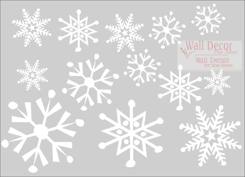 White Walm1|#Wall Decor Plus More WDPM3642 Large Snowflake Designs Vinyl Decals Assorted Set of 13 Stickers 8-2.5-Inch