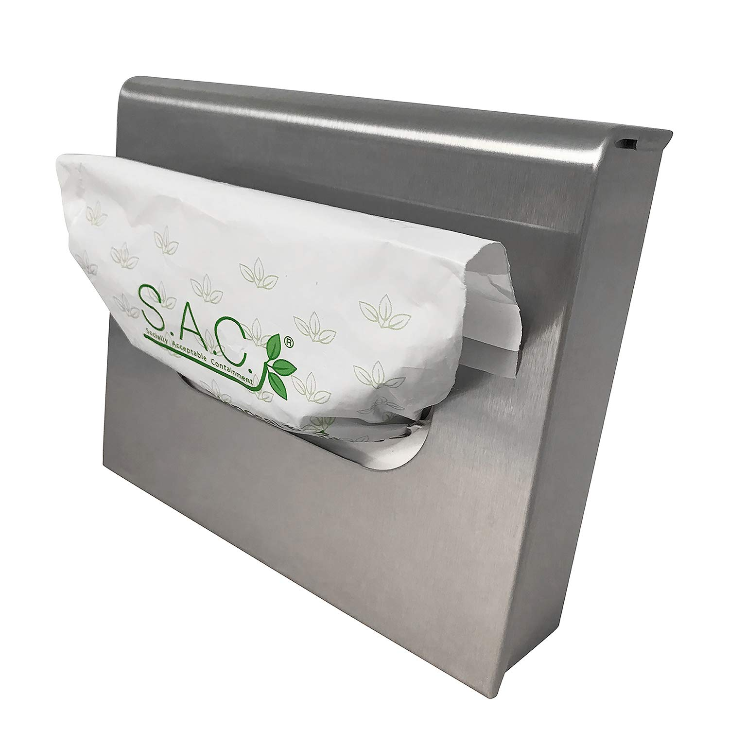 Sanitary Napkin Receptacle, Surface Mounted, with Liners, Courtesy Disposal Bags and Dispenser, Steel (Stainless Steel) by S.A.C. Socially Acceptable Containment (Image #3)