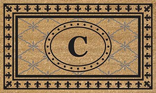 (Nedia Home Super Scraper Bungalow Vinyl Coir Doormat, Monogrammed C, 18 x 30