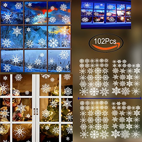 Wedding Window Clings (102Pcs White Snowflakes Window Clings Decals Stickers- Reusable No Mess For Xmas Ornaments Holiday New Years Winter Wonderland Decoration Ornaments Home Decor Party Supplies 8 style snowflakes designs)