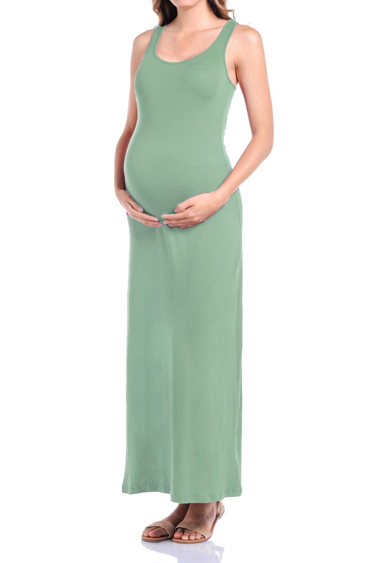 Beachcoco Women's Maternity Comfortable Jersey Maxi Dress (L, Sage)