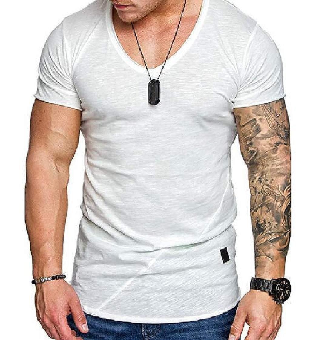 Nanquan Men Sport Plus Size Leisure Short Sleeve Spliced V-Neck Tee