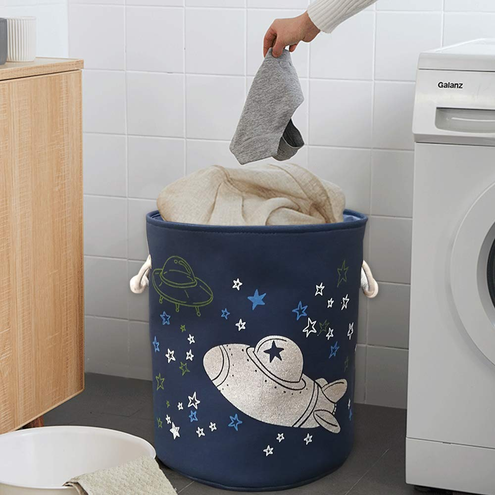Laundry Home Living Room Floor Toy Organizing Bins Canvas Fabric Collapsible Organizer Basket for Nursery White Round Hamper Pillow and Big LB26 Storage Bin Blanket