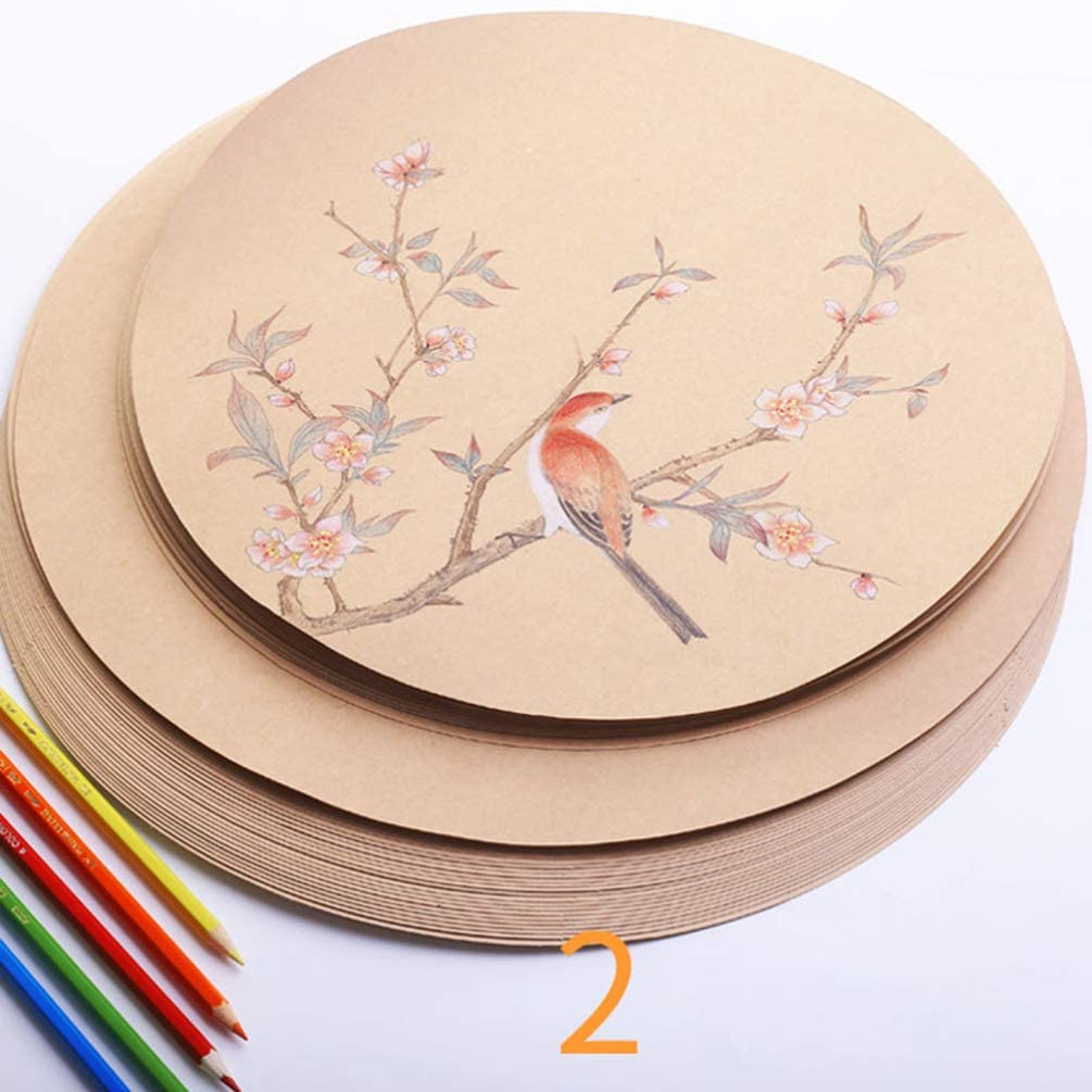 STOBOK 50 Pezzi di Carta da Disegno Rotonda Kraft Spessa Carta Artigianale di Arte per Disegnare Schizzi Pittura Artista Fornisce 25 Cm