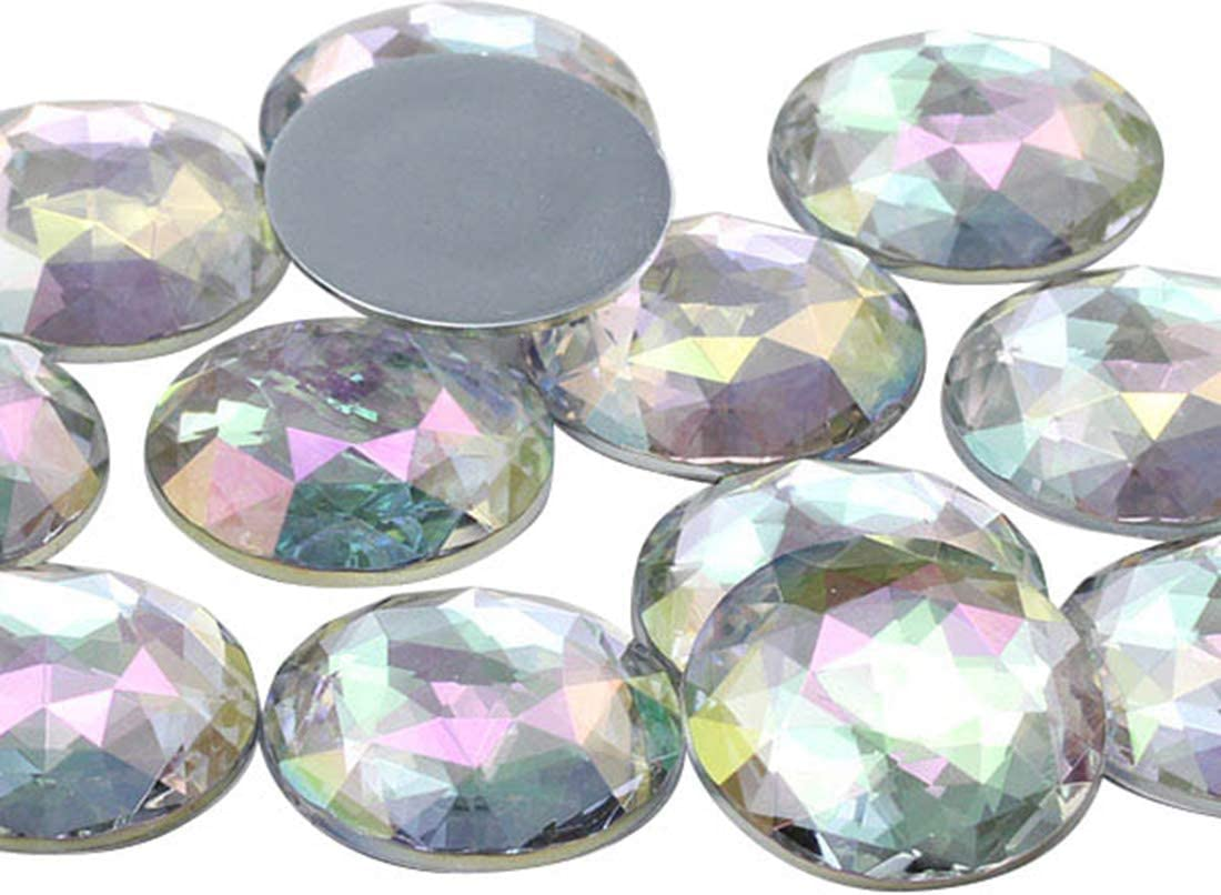 50mm Crystal Clear AB H702 Flat Back Round Acrylic Rhinestones Plastic Circle Gems For Costume Making Cosplay Jewels Pro Grade 4 Pieces