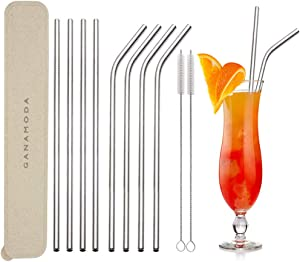 Stainless Steel Straws Reusable, GANAMODA 6mm Diameter, Ultra Long 10.5'' Drinking Straws for Yeti 20oz/30oz Tumblers/ Ramblers Cold Beverage, Cleaning Brush Included(4 Straight|4 Bent|2 Brushes)White