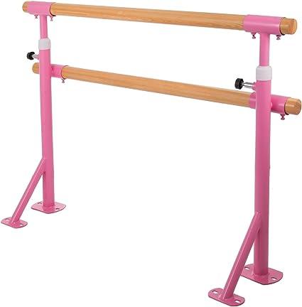 Ukiki Barre de Ballet Autoportante Double Barre Montage de l/équipement lexercice dentra/înement Danse de Double Ballet Barre Acier Biens Durables Stretch Enfants Adultes Studio de Danse
