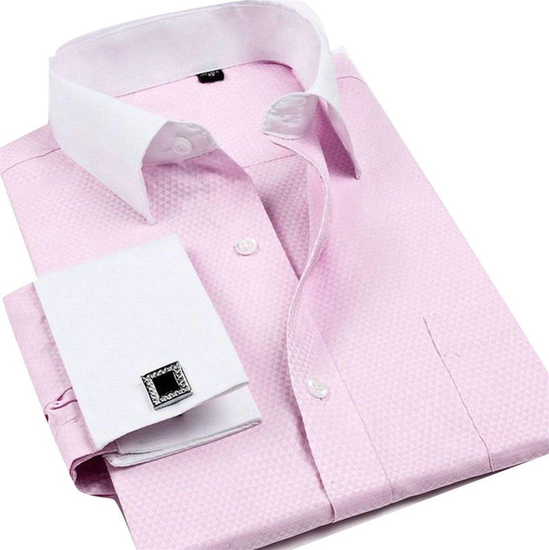 Wofupowga Men Lapel Neck Cufflinks Casual Pocket Long Sleeve Button Down Shirts Pink XXL