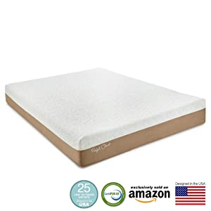 "Perfect Cloud Atlas Gel-Plus 10"" Memory Foam Mattress, Queen, White/Mocha"