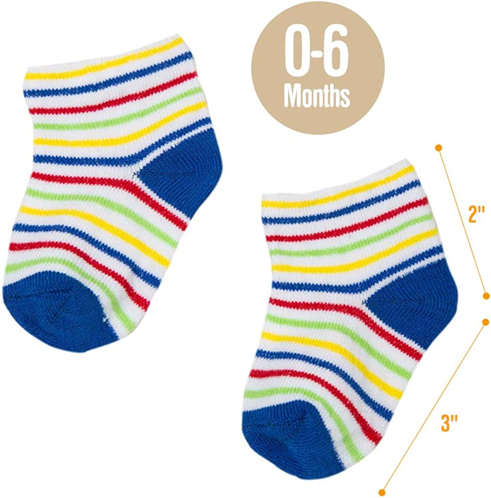 Socks Set for Baby Girl Boy 2 Pairs Baby Thick Cotton Socks Soft Elastic Warm Cute Colorful Breathable Anti-Slip Gift for Infant Toddler Baby 0-3 Years